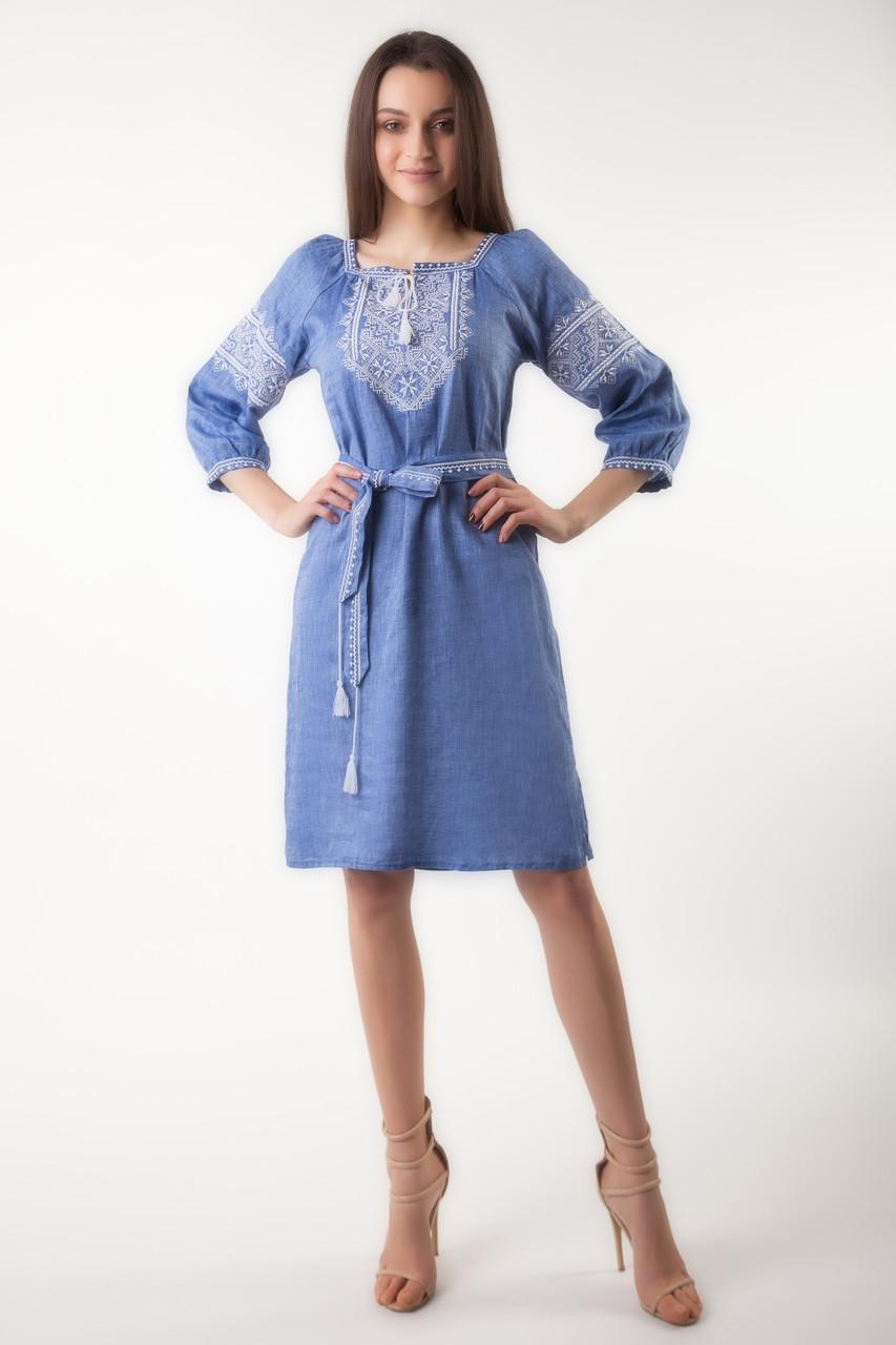 Вышитое платье Твори мир (цвет - джинс) - фото 1
