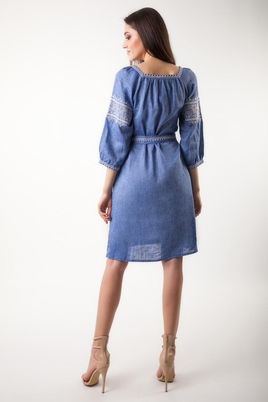 Вышитое платье Твори мир (цвет - джинс) - фото 3