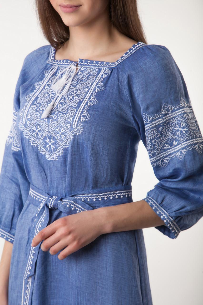 Вышитое платье Твори мир (цвет - джинс) - фото 4