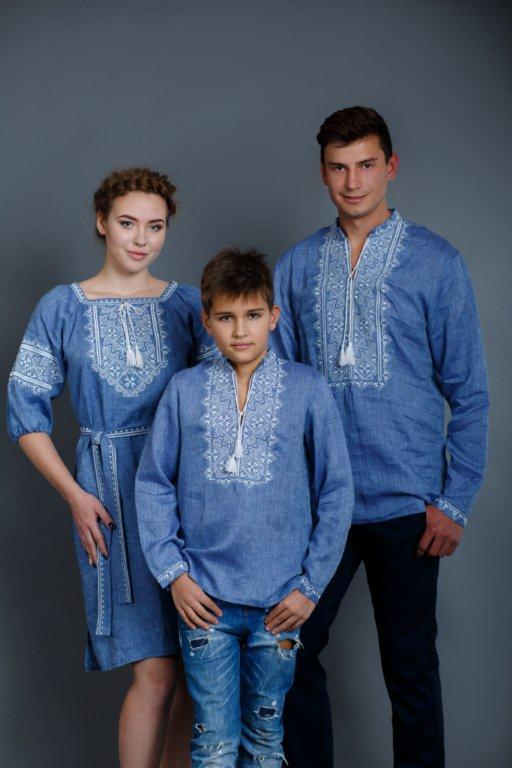 Вышитое платье Твори мир (цвет - джинс) - фото 5