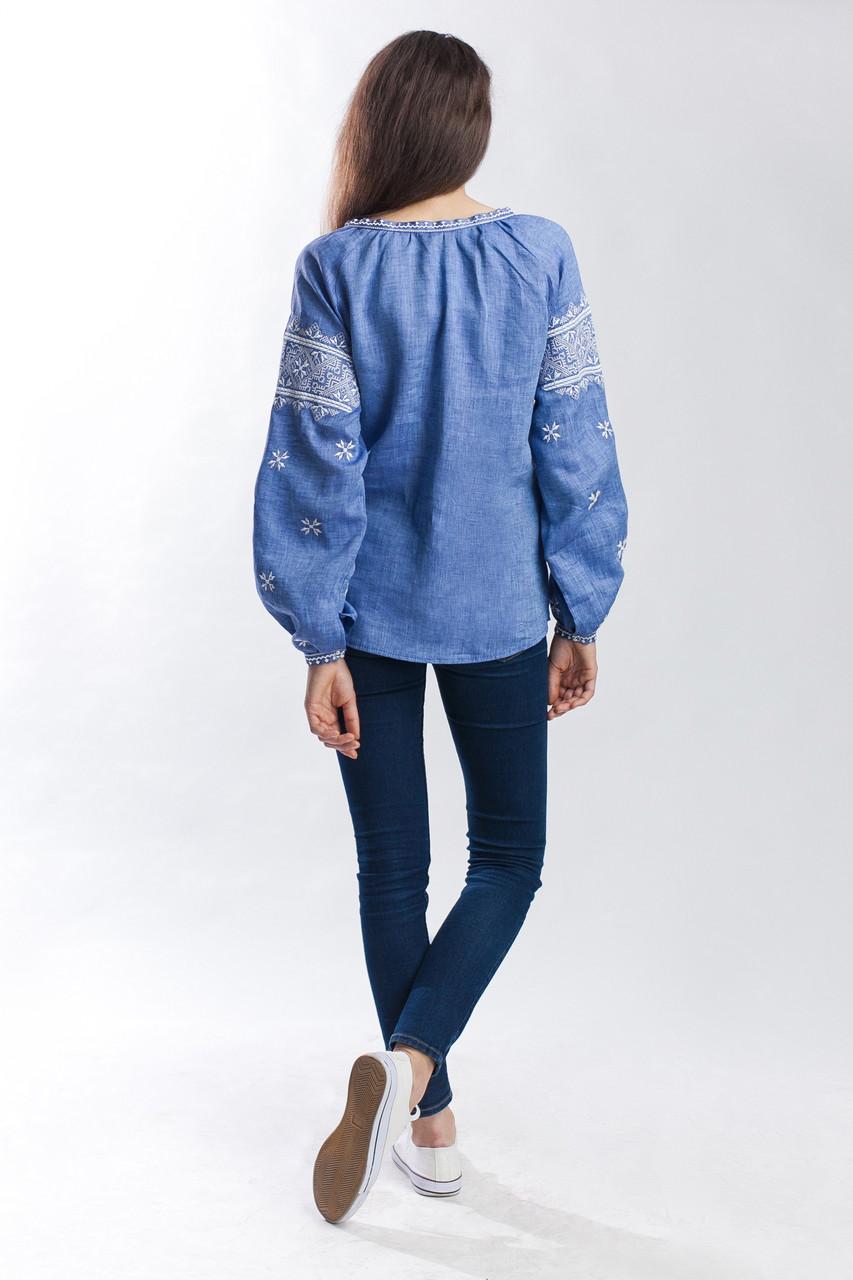 """Женская вышиванка """"Твори мир"""", лен джинс - фото 4"""