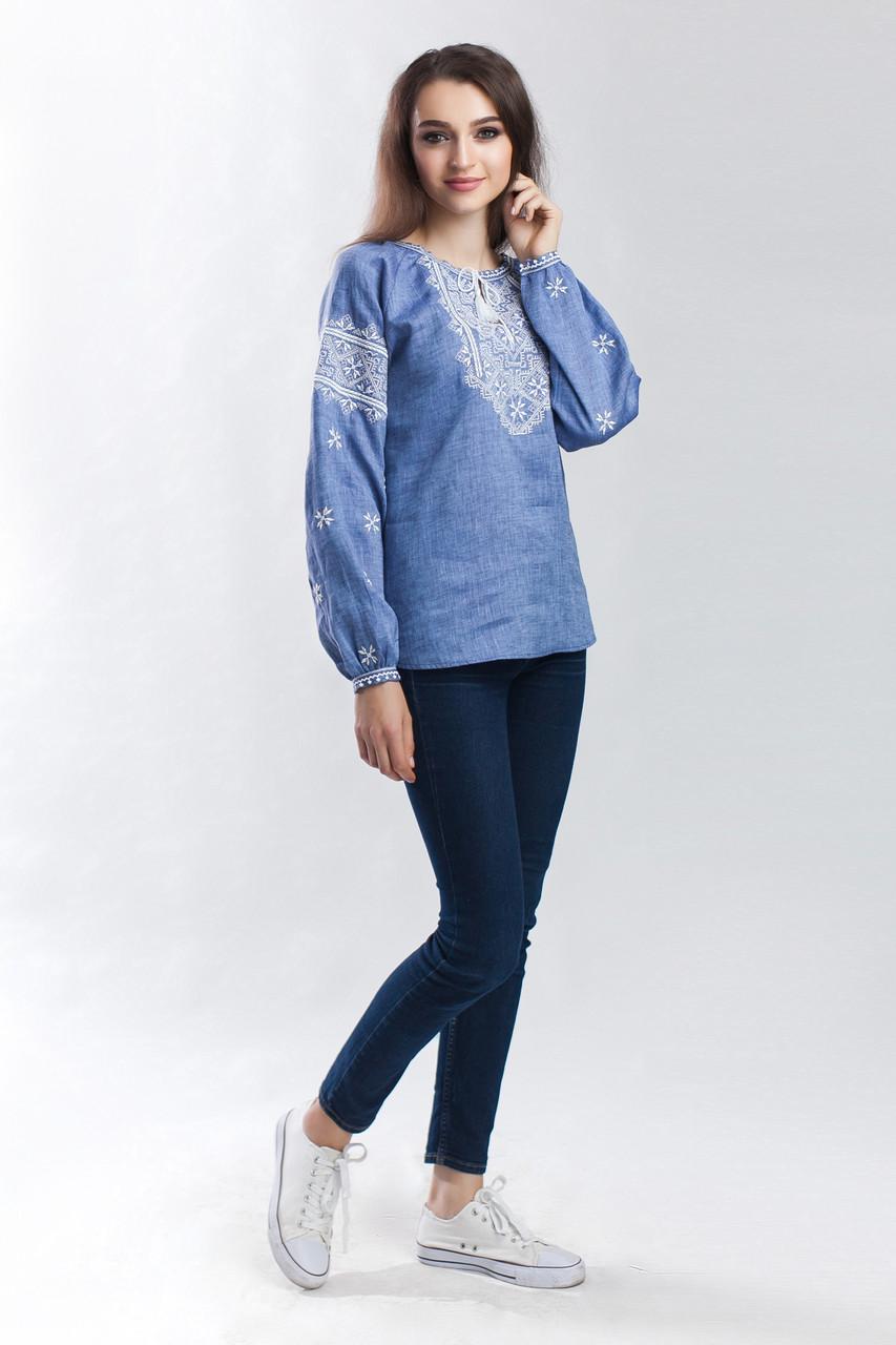 """Женская вышиванка """"Твори мир"""", лен джинс - фото 5"""
