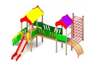 Уличные детские спортивные комплексы из дерева и металла