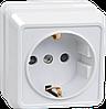 Розетка 1-местная для открытой установки РС20-3-ОБ с заземляющим контактом 16А ОКТАВА белый IEK