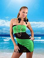 Пляжная туника-мини платье черно-зеленая