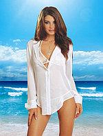 Эффектная белая пляжная рубашка с длинным рукавом