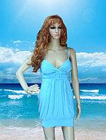 Пляжное Голубое платье с чашками на брительках