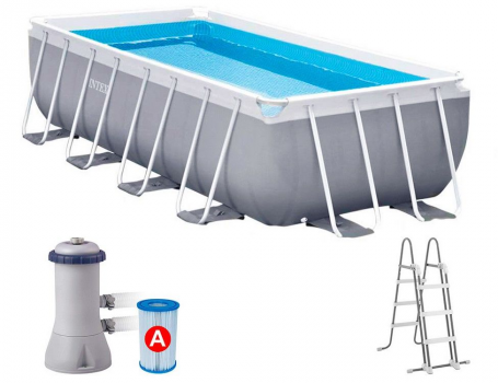 Каркасный бассейн Intex Prism Frame Pool, 400х200х100см + фил.нас + лестница 26788