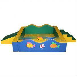 Сухой бассейн «Волна» квадратный разборный с горкой и ступенькой