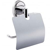 Настенный держатель металлический для туалетной бумаги с крышкой, фото 1