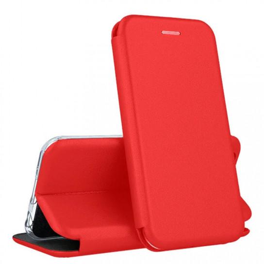 Кожаный книжка-чехол Open case для Samsung Galaxy J6 (красный)