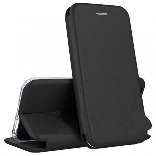 Кожаный книжка-чехол Open case для iPhone XR (черный)