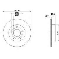 Тормозные диски Toyota  Carina 2 (передние, 87-92, Optimal, D255)