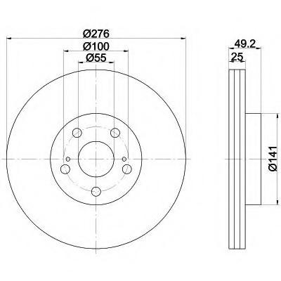 Тормозные диски Toyota  Avensis (00-03, передние, Optimal,D276)