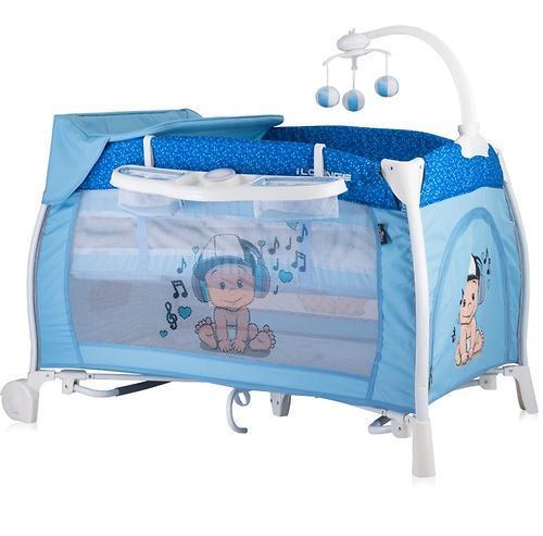 Кровать-манеж LORELLI I'LOUNGE 2 Rocker 60x120 Синий / Blue Music Boy 1810