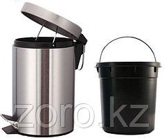 Урна металлическая с педалью 8 литров (хром)