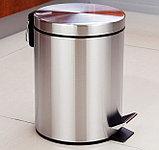 Урна металлическая с педалью 5 литров (Хром), фото 3