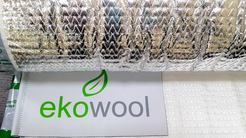 Мат Ekowool M1F1- материал облицован с одной стороны кремнеземной тканью, с другой стороны алюминиевой фольгой