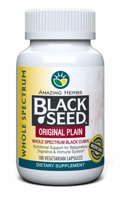 Amazing Herbs, Черный тмин, оригинальный, чистый, 100 капсул