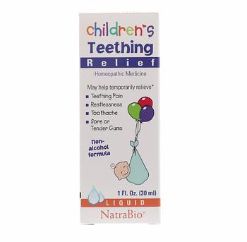 NatraBio, Средство для снятия боли при прорезывании зубов у детей, без спирта, жидкость, 30 мл