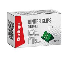 Зажим для бумаг BERLINGO, 19 мм, цветные (12 шт)