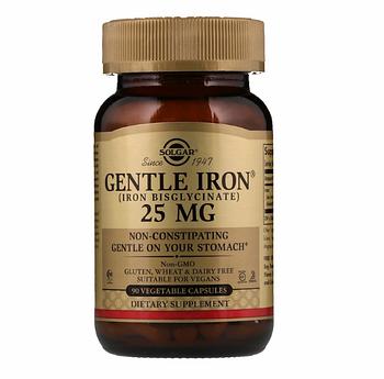 Solgar, Мягкое железо, 25 мг, 90 вегетарианских капсул