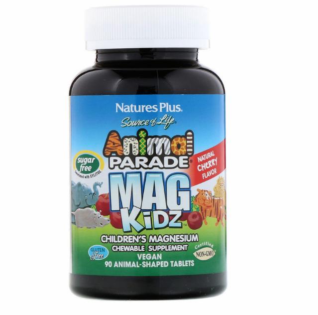 Nature's Plus, Animal Parade, MagKidz, магний для детей, натуральный вишневый вкус, 90 таблеток в форме живот
