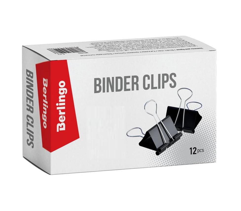 Зажим для бумаг BERLINGO, 51 мм, черные (12 шт)