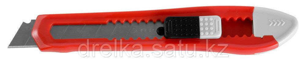 """Нож ЗУБР """"СТАНДАРТ"""" с сегментированным лезвием, корпус из AБС пластика, сдвижной фиксатор, сталь У8А, 18мм"""