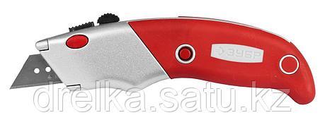 """Нож ЗУБР """"ЭКСПЕРТ"""" с трапециевидным лезвием тип А24, автомат. фиксация лезвия, метал. корпус, фото 2"""
