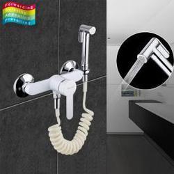 Смеситель с гигиеническим душем белый Frap 2041-8
