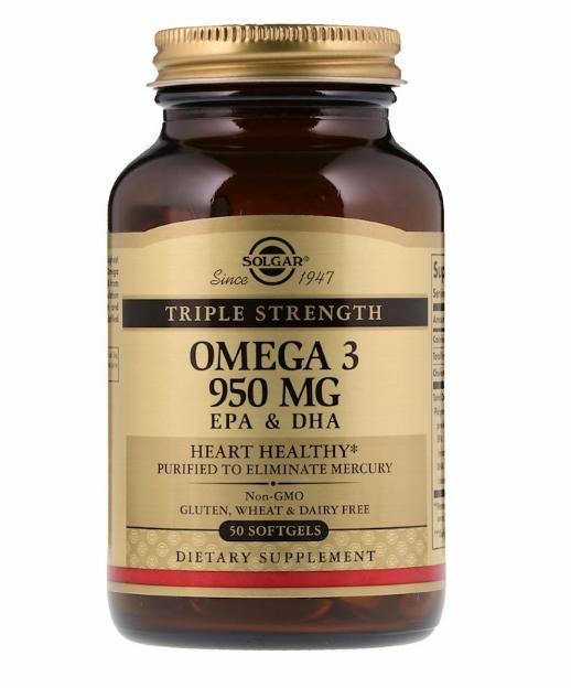Solgar, Омега-3, ЭПК и ДГК, тройная сила, 950 мг, 50 мягких таблеток.