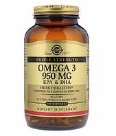 Solgar, Омега-3 ЭПК и докозагексановая кислота, Тройная сила, 950 мг, 100 капсул.