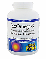 Natural Factors, Rx Omega-3 Factors, 630 mg, 120 Softgels