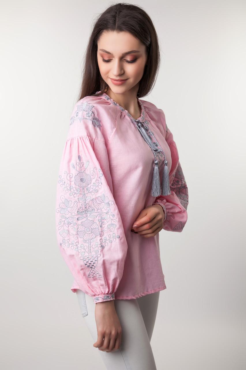 Вышиванка женская Цветущий сад, розовый лен - фото 1