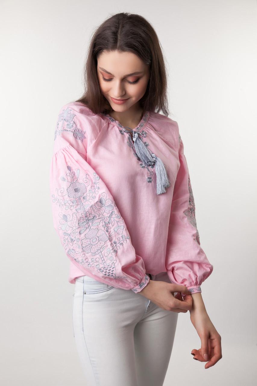Вышиванка женская Цветущий сад, розовый лен - фото 4