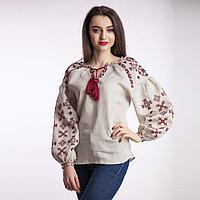 Вышиванка женская Цветок папороти, беж лен, бордо вышивка