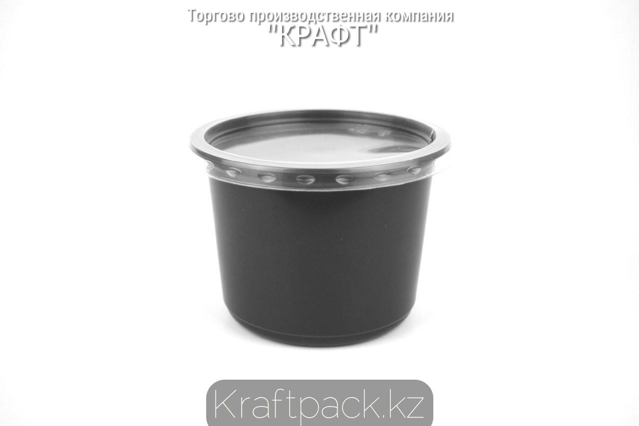Контейнер с крышкой круглый Спк-115 500 мл ПП ЧЕРНЫЙ (50/500) ПолиЭр