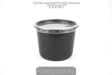 Контейнер с крышкой круглый Спк-115 500 мл ПП ЧЕРНЫЙ (100/500) ПолиЭр