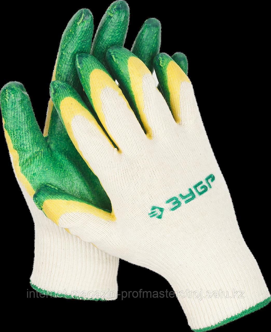 Перчатки трикотажные с латексным покрытием, двойной облив, размер L-XL, серия «МАСТЕР», ЗУБР