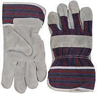 Перчатки кожаные комбинированные из спилка, серые, размер XL, STAYER