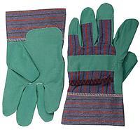 Перчатки кожаные комбинированные искусственная кожа, зеленые, размер XL, STAYER
