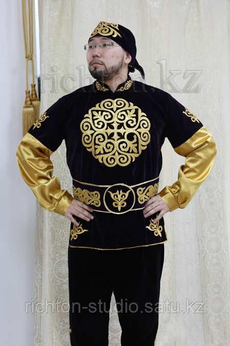 Казахский национальный мужской костюм Алматы. Белый сценический - фото 2