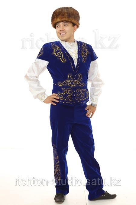 Казахский национальный мужской костюм Алматы. Белый сценический - фото 3