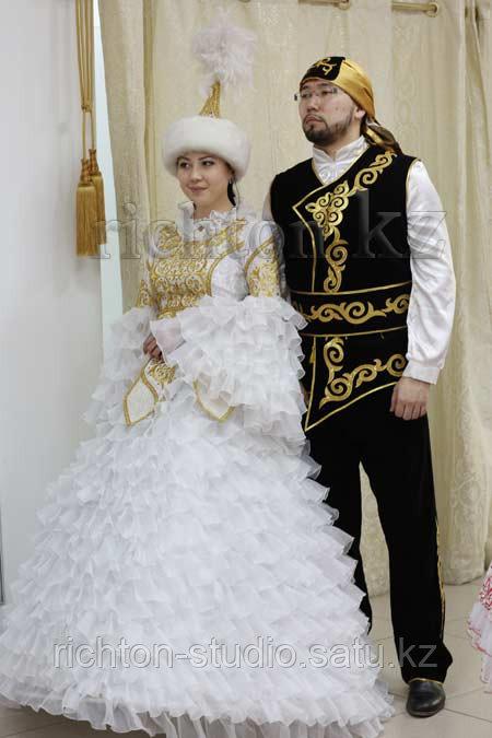 Казахский национальный мужской костюм Алматы. Белый сценический - фото 4
