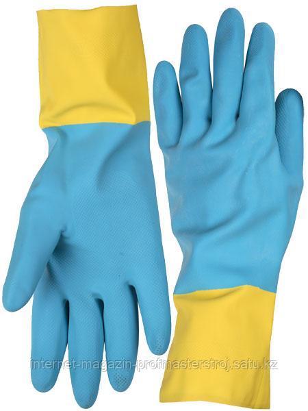 Перчатки латексные с неопреновым покрытием, размер S, STAYER