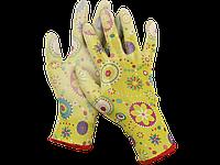 Перчатки садовые, прозрачное PU покрытие, размер S, зеленые, GRINDA