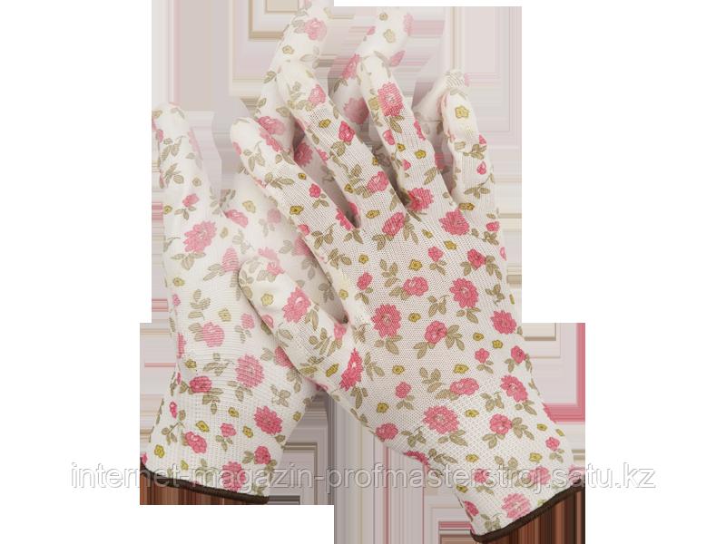 Перчатки садовые, прозрачное PU покрытие, размер M, бело-розовые, GRINDA
