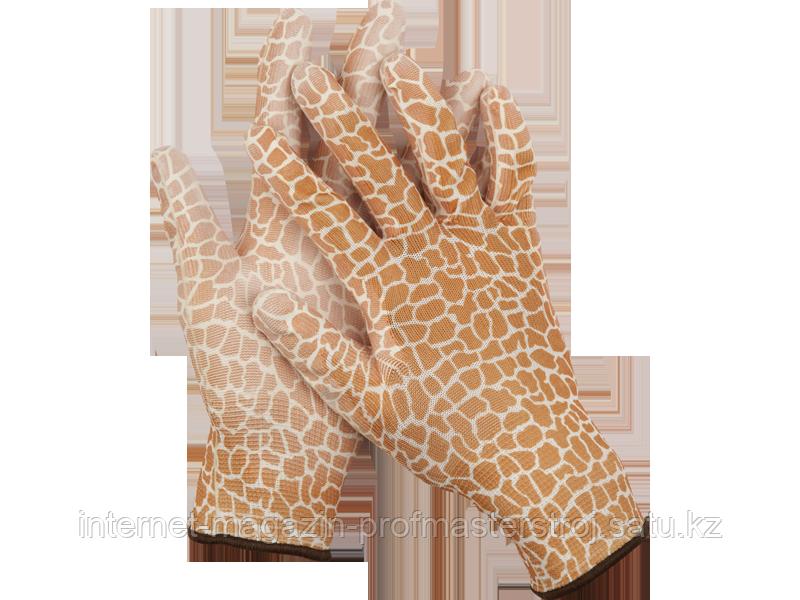 Перчатки садовые, прозрачное PU покрытие, размер M, коричневые, GRINDA