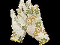Перчатки садовые, прозрачное PU покрытие, размер M, бело-зеленые, GRINDA